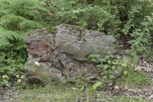 Erzhaltiger Gesteinsbrocken am Wegrand