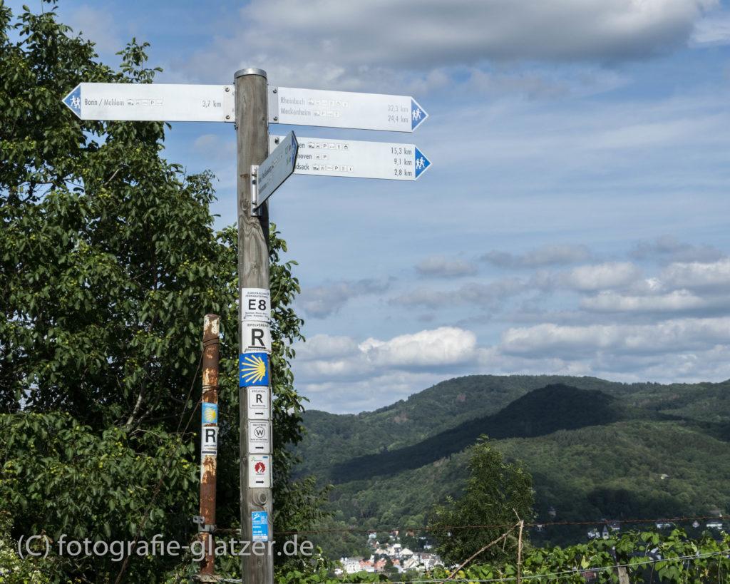 Wegweiser am Rodderberg mit vielen Weghinweisen - Rheinsteig, Europäischer Fernwanderweg E8 und Jakobsweg